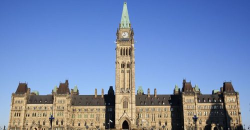 5994395 - front view of the canadian parliament building , with nobody showing
